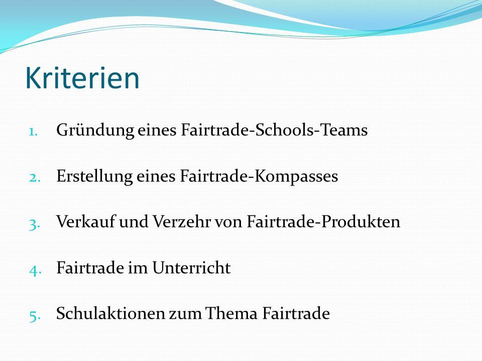 Kriterien 1. Gründung eines Fairtrade-Schools-Teams 2. Erstellung eines Fairtrade-Kompasses 3. Verkauf und Verzehr von Fairtrade-Produkten 4. Fairtrad