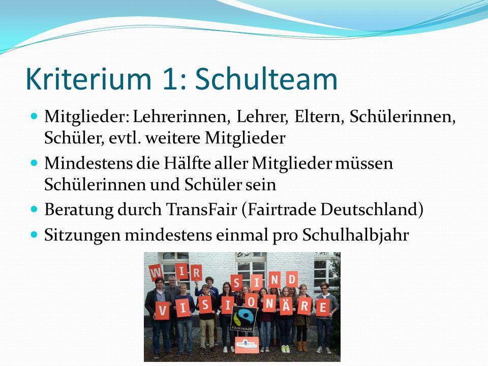 Kriterium 1: Schulteam Mitglieder: Lehrerinnen, Lehrer, Eltern, Schülerinnen, Schüler, evtl. weitere Mitglieder Mindestens die Hälfte aller Mitglieder