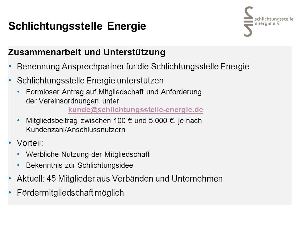 Schlichtungsstelle Energie Zusammenarbeit und Unterstützung Benennung Ansprechpartner für die Schlichtungsstelle Energie Schlichtungsstelle Energie un