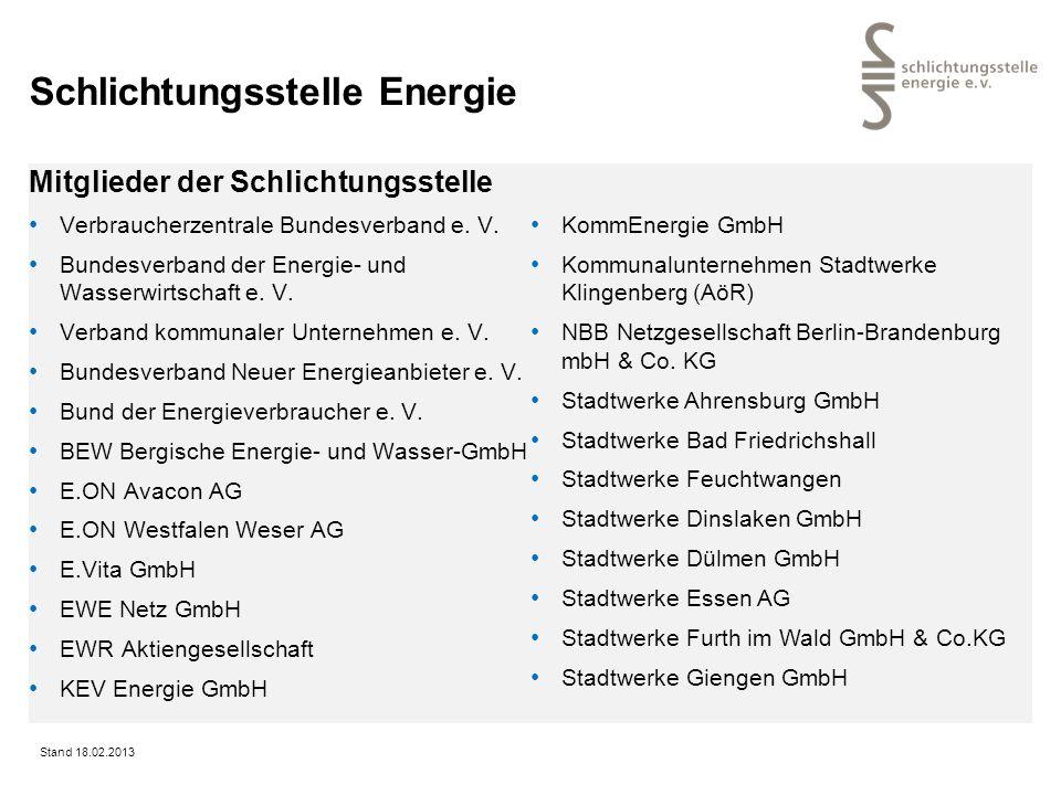 Schlichtungsstelle Energie Mitglieder der Schlichtungsstelle Verbraucherzentrale Bundesverband e. V. Bundesverband der Energie- und Wasserwirtschaft e