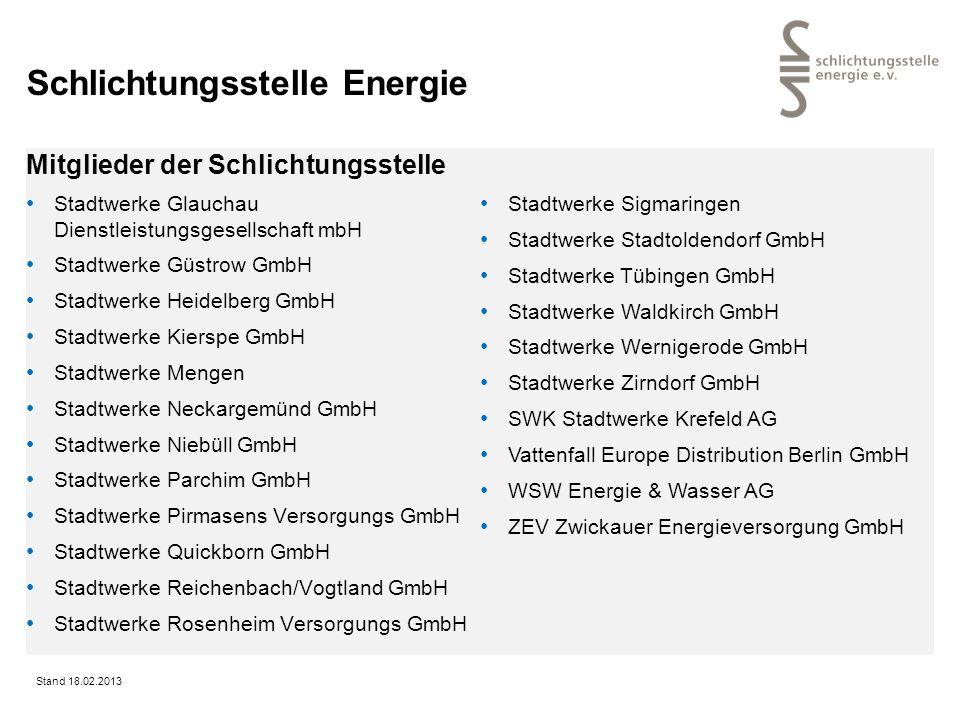 Schlichtungsstelle Energie Mitglieder der Schlichtungsstelle Stadtwerke Glauchau Dienstleistungsgesellschaft mbH Stadtwerke Güstrow GmbH Stadtwerke He