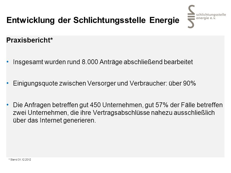 Entwicklung der Schlichtungsstelle Energie Praxisbericht* Insgesamt wurden rund 8.000 Anträge abschließend bearbeitet Einigungsquote zwischen Versorge