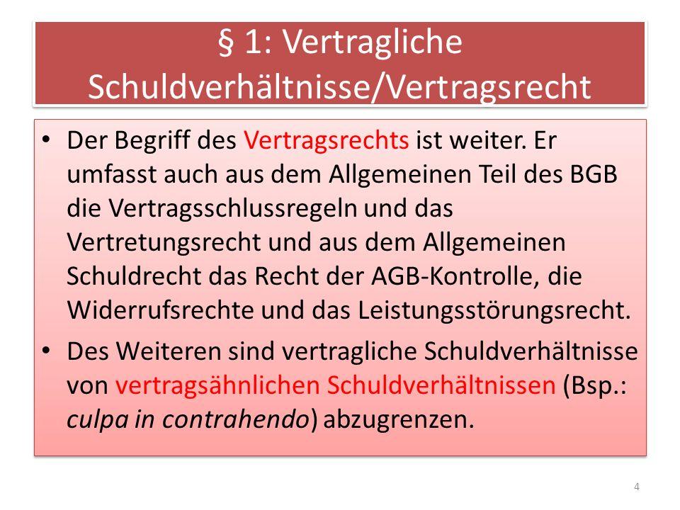 § 1: Vertragliche Schuldverhältnisse/Vertragsrecht Der Begriff des Vertragsrechts ist weiter. Er umfasst auch aus dem Allgemeinen Teil des BGB die Ver