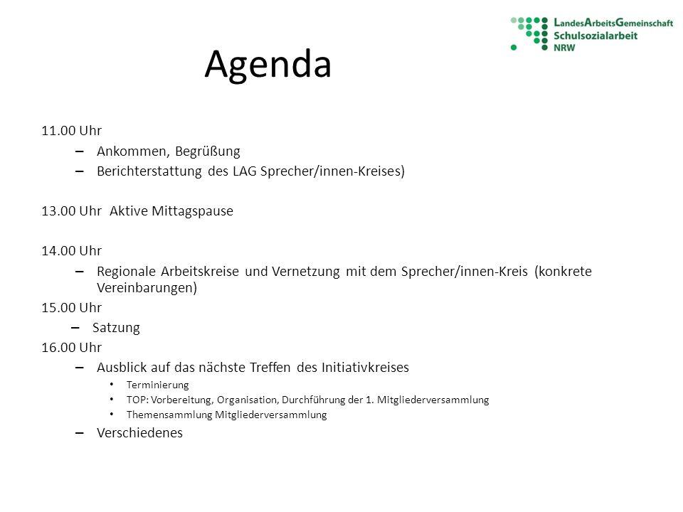 Agenda 11.00 Uhr – Ankommen, Begrüßung – Berichterstattung des LAG Sprecher/innen-Kreises) 13.00 Uhr Aktive Mittagspause 14.00 Uhr – Regionale Arbeits