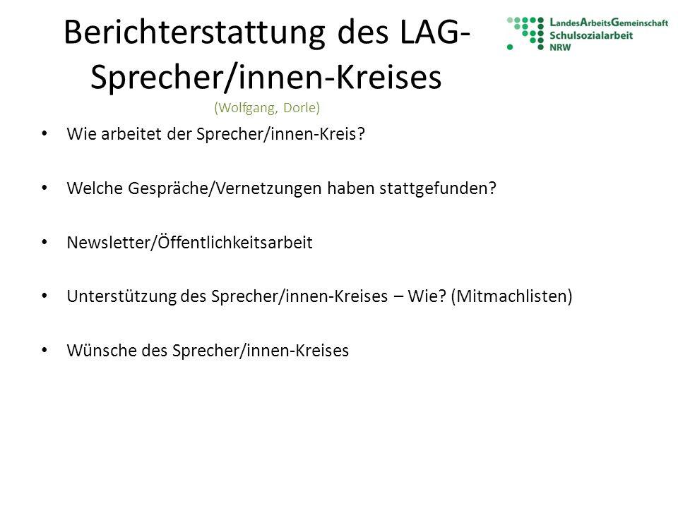 Wie arbeitet der Sprecher/innen-Kreis (Wolfgang, Katja, Dorle) Ehrenamtlich Arbeitsteilig Kommunikation über Email, Telefon Eine Klausurtagung (Fr-Sa) Treffen des Sprecher/innen-Kreises (ca.