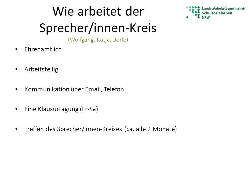 Wie arbeitet der Sprecher/innen-Kreis (Wolfgang, Katja, Dorle) Ehrenamtlich Arbeitsteilig Kommunikation über Email, Telefon Eine Klausurtagung (Fr-Sa)