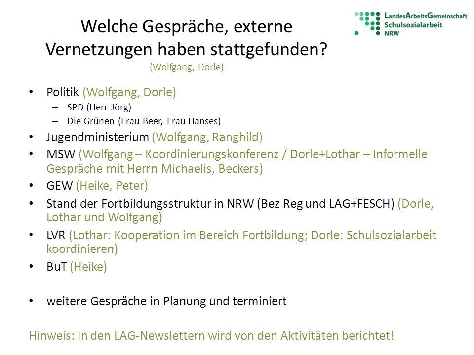Welche Gespräche, externe Vernetzungen haben stattgefunden? (Wolfgang, Dorle) Politik (Wolfgang, Dorle) – SPD (Herr Jörg) – Die Grünen (Frau Beer, Fra