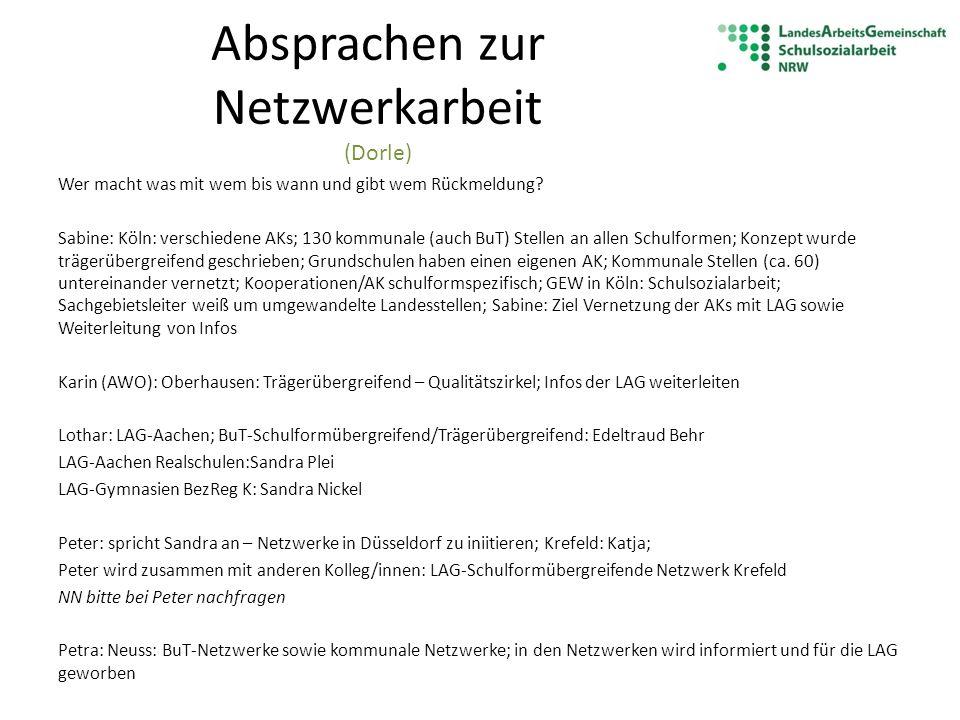 Absprachen zur Netzwerkarbeit (Dorle) Wer macht was mit wem bis wann und gibt wem Rückmeldung? Sabine: Köln: verschiedene AKs; 130 kommunale (auch BuT