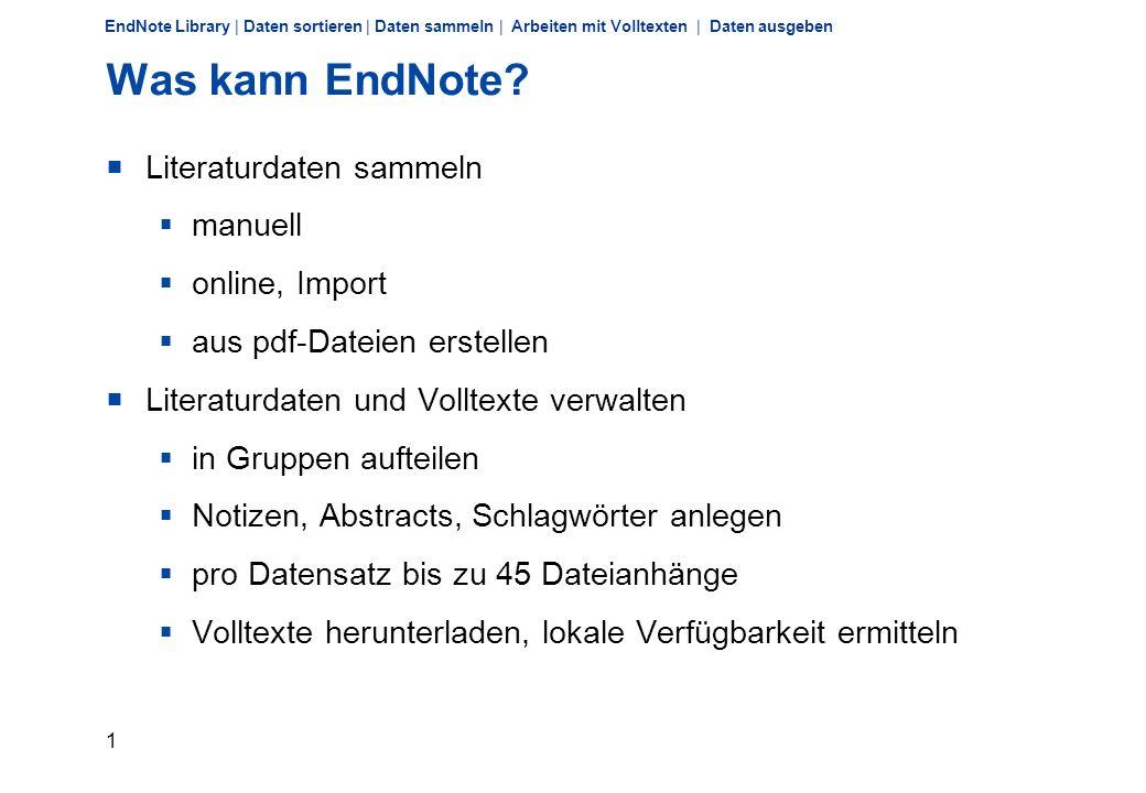 Literatur verwalten mit EndNote X4 Dr. Christiane Holtz, holtz@ulb.uni-bonn.de, 28.September 2010holtz@ulb.uni-bonn.de