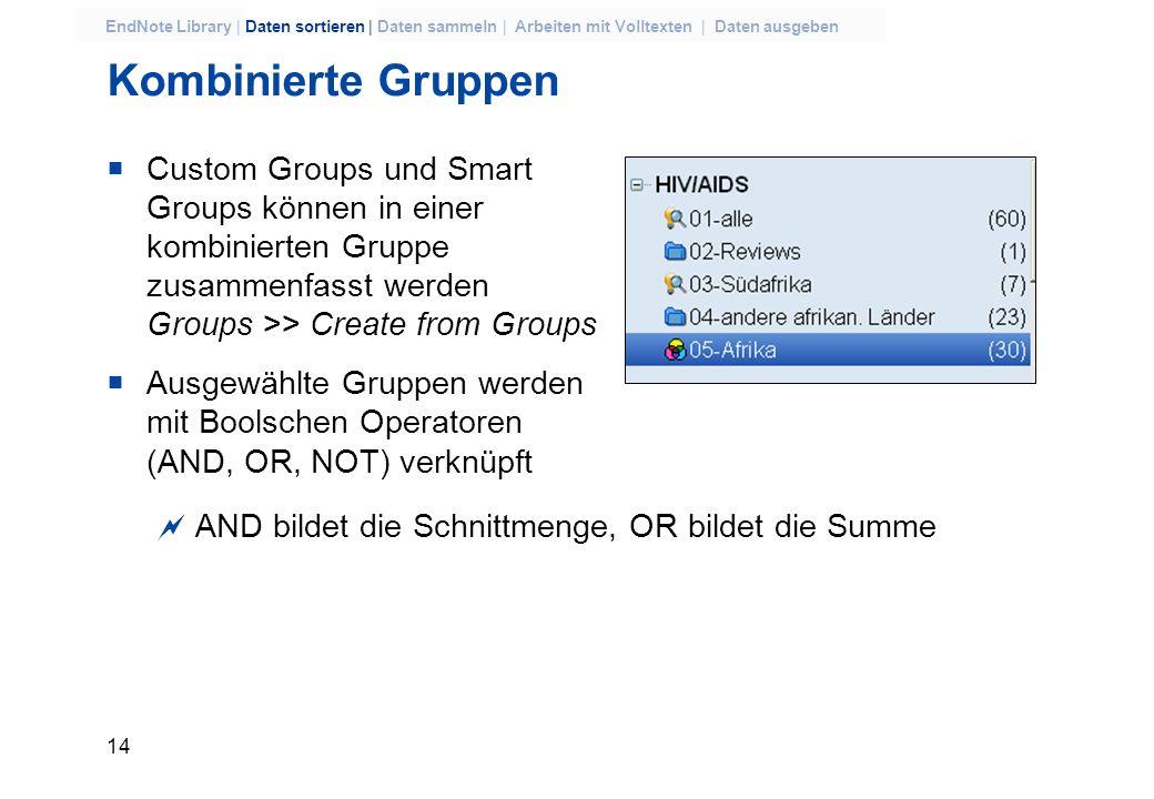 13 EndNote Library | Daten sortieren | Daten sammeln | Arbeiten mit Volltexten | Daten ausgeben Smart Groups Aus Suchen Gruppen erstellen direkt im An