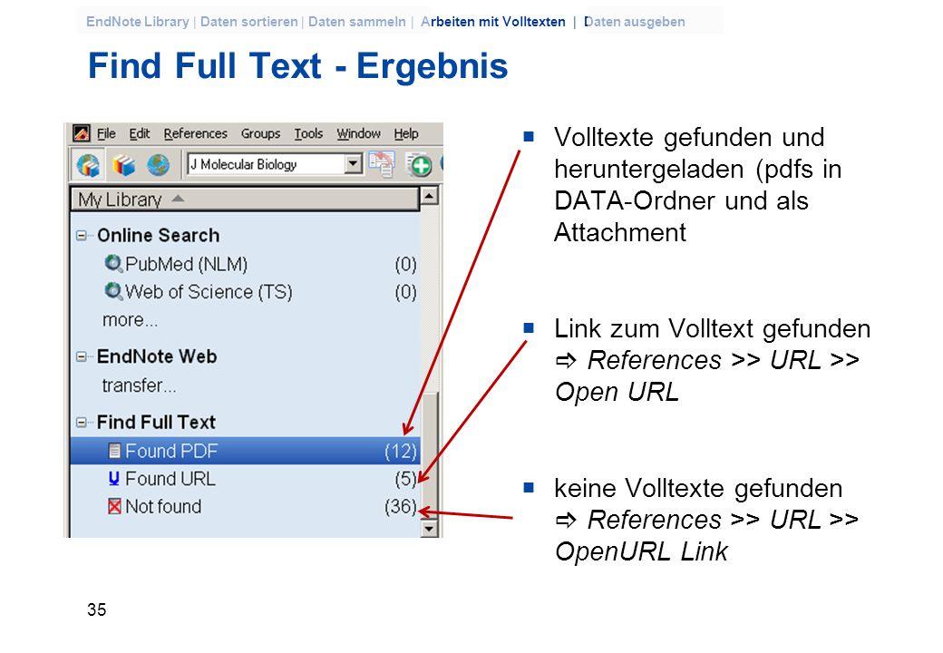 34 EndNote Library | Daten sortieren | Daten sammeln | Arbeiten mit Volltexten | Daten ausgeben