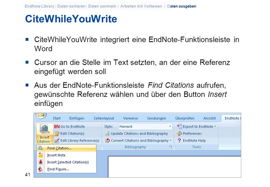40 EndNote Library | Daten sortieren | Daten sammeln | Arbeiten mit Volltexten | Daten ausgeben Beispiel: Ordnung nach Keywords