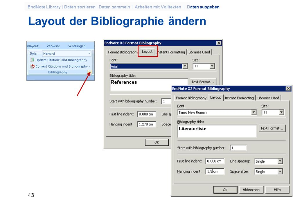 42 EndNote Library | Daten sortieren | Daten sammeln | Arbeiten mit Volltexten | Daten ausgeben CiteWhileYouWrite EndNote fügt den Kurzbeleg in den Te