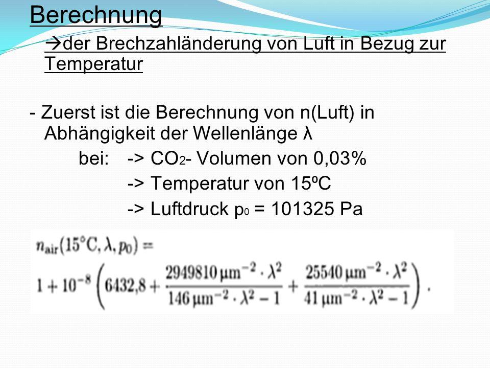 Berechnung der Brechzahländerung von Luft in Bezug zur Temperatur - Zuerst ist die Berechnung von n(Luft) in Abhängigkeit der Wellenlänge λ bei:-> CO