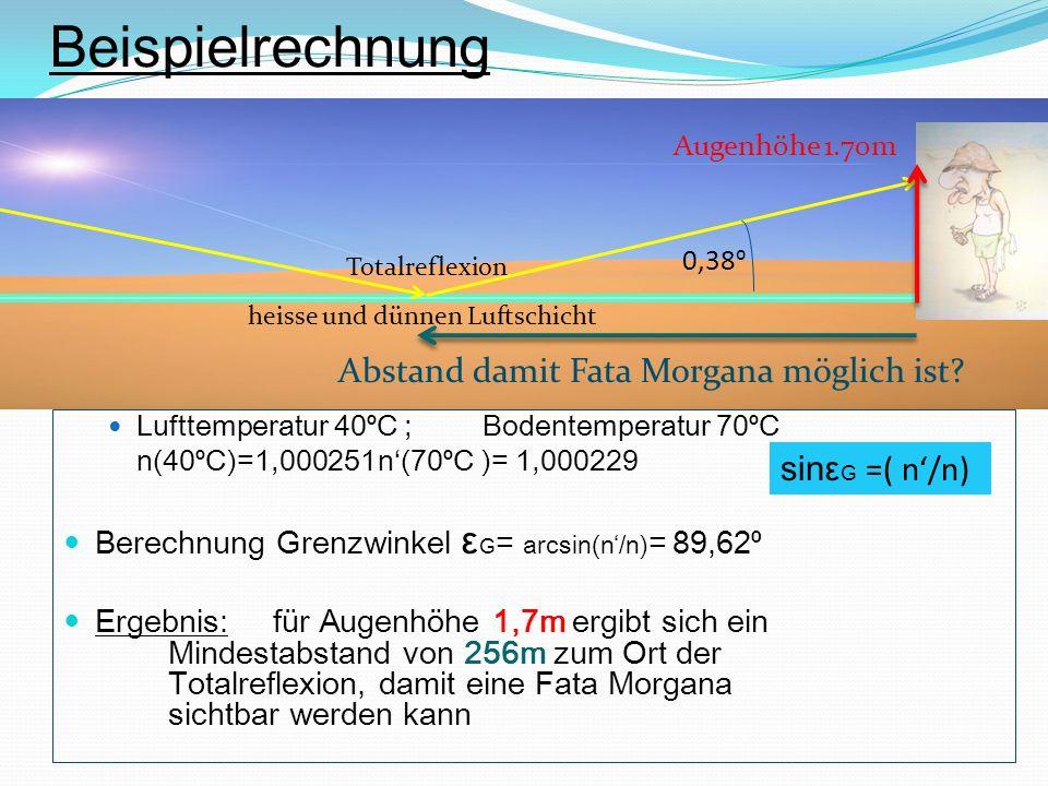 Lufttemperatur 40 C ; Bodentemperatur 70 C n(40 C)=1,000251n(70 C )= 1,000229 Berechnung Grenzwinkel ε G = arcsin(n/n) = 89,62 Ergebnis:für Augenhöhe