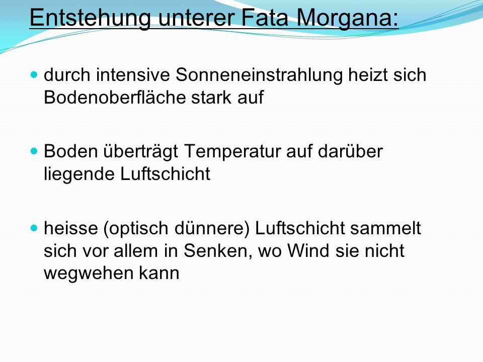 Entstehung unterer Fata Morgana: durch intensive Sonneneinstrahlung heizt sich Bodenoberfläche stark auf Boden überträgt Temperatur auf darüber liegen