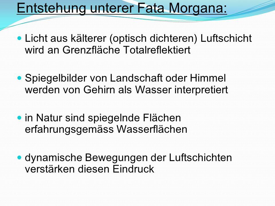 Entstehung unterer Fata Morgana: Licht aus kälterer (optisch dichteren) Luftschicht wird an Grenzfläche Totalreflektiert Spiegelbilder von Landschaft
