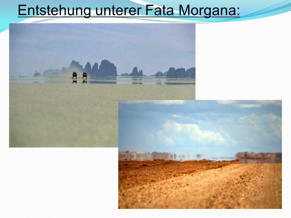 Entstehung oberer Fata Morgana: Spiegelung erfolgt oberhalb des gespiegelten Objektes an einer Inversionsschicht eine Inversionsschicht ist Luftschicht mit umgekehrter die Richtung der Temperatur- änderung warme (optisch dünnere) Luftschicht liegt über kälterer (optisch dichterer) Luftschicht