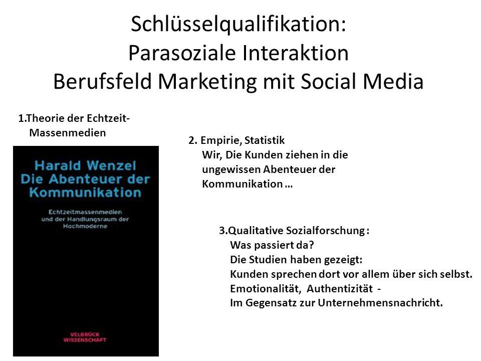 Schlüsselqualifikation: Parasoziale Interaktion Berufsfeld Marketing mit Social Media 1.Theorie der Echtzeit- Massenmedien 2. Empirie, Statistik Wir,