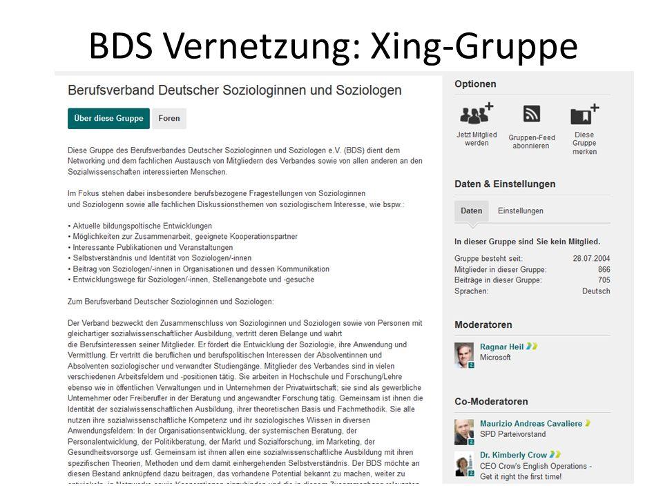 BDS Vernetzung: Xing-Gruppe