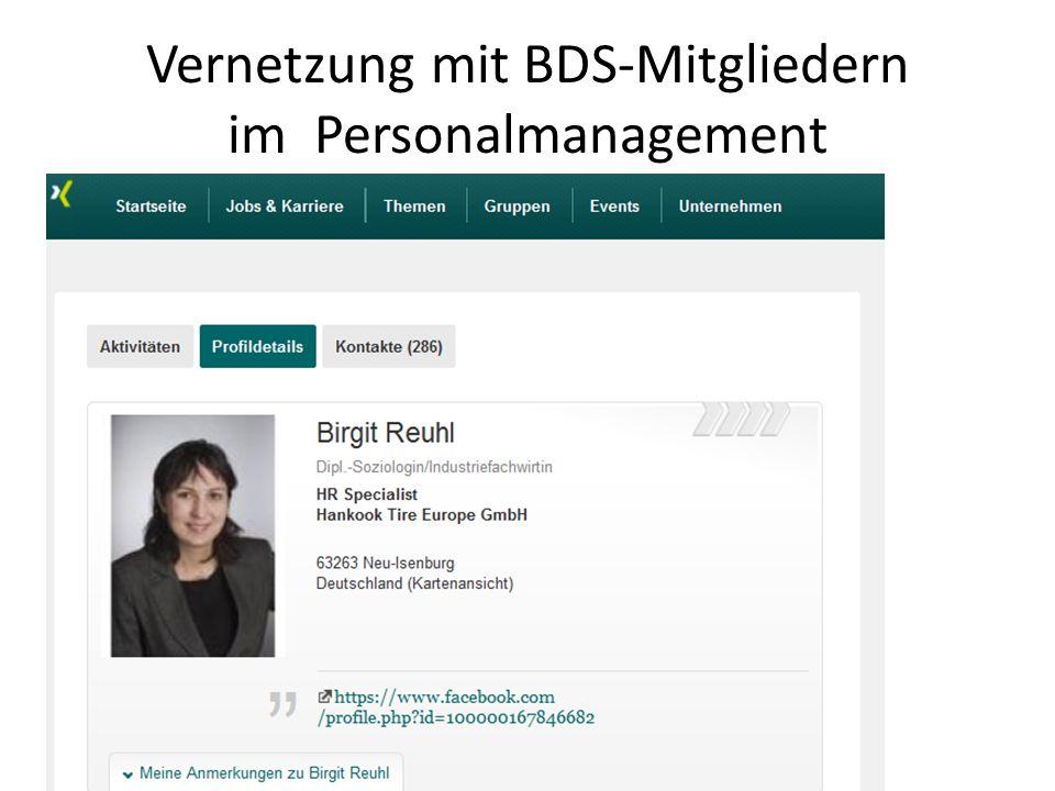 Vernetzung mit BDS-Mitgliedern im Personalmanagement