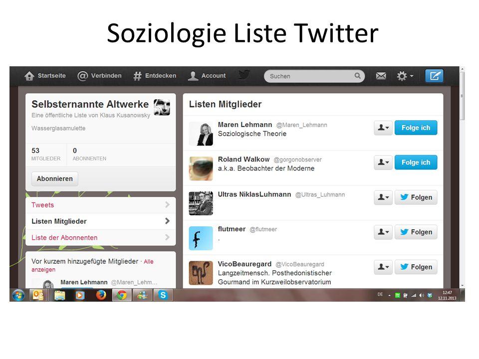 Soziologie Liste Twitter