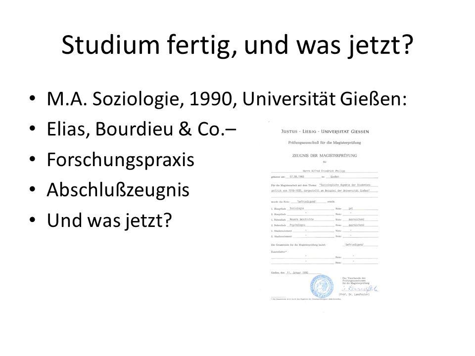 Studium fertig, und was jetzt? M.A. Soziologie, 1990, Universität Gießen: Elias, Bourdieu & Co.– Forschungspraxis Abschlußzeugnis Und was jetzt?