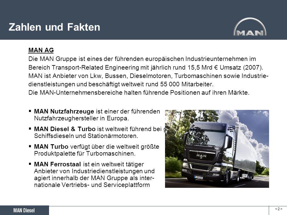 < 2 >< 2 > Zahlen und Fakten MAN AG Die MAN Gruppe ist eines der führenden europäischen Industrieunternehmen im Bereich Transport-Related Engineering