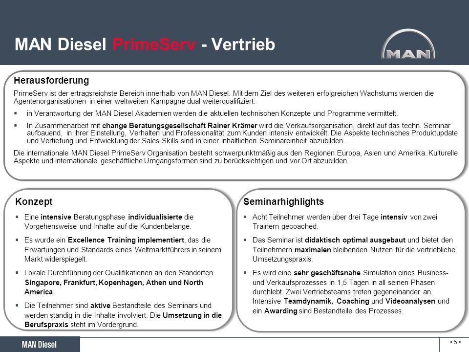 < 5 >< 5 > MAN Diesel PrimeServ - Vertrieb Herausforderung PrimeServ ist der ertragsreichste Bereich innerhalb von MAN Diesel. Mit dem Ziel des weiter