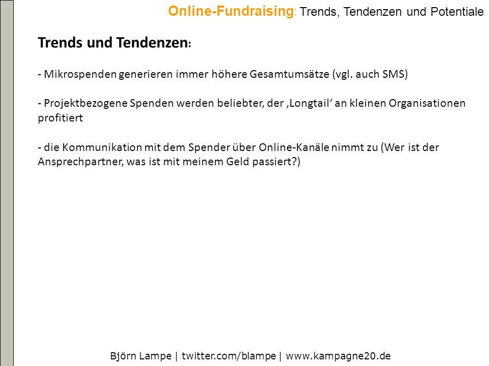 Björn Lampe | twitter.com/blampe | www.kampagne20.de Online-Fundraising : Trends, Tendenzen und Potentiale Trends und Tendenzen : - Mikrospenden generieren immer höhere Gesamtumsätze (vgl.