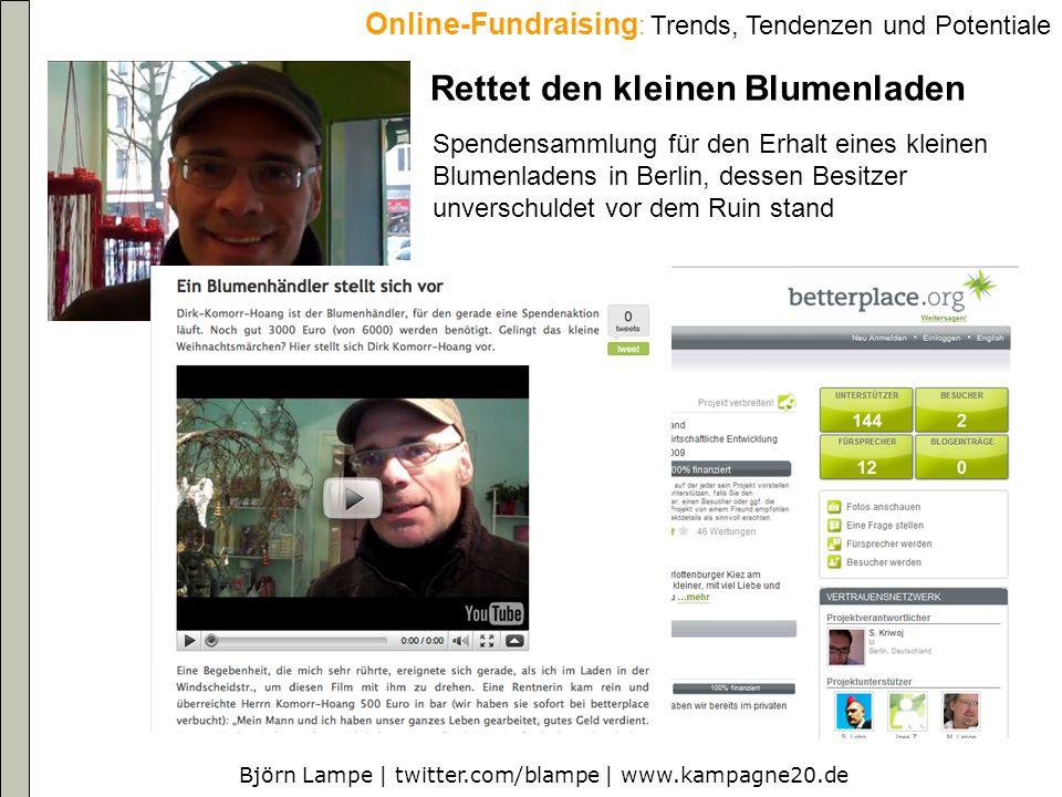 Björn Lampe   twitter.com/blampe   www.kampagne20.de Online-Fundraising : Trends, Tendenzen und Potentiale Facebook causes 20 Millionen US-Dollar (hauptsächlich kleine und mittlere Spenden) in 24 Monaten, 2009 vier mal mehr als in 2008