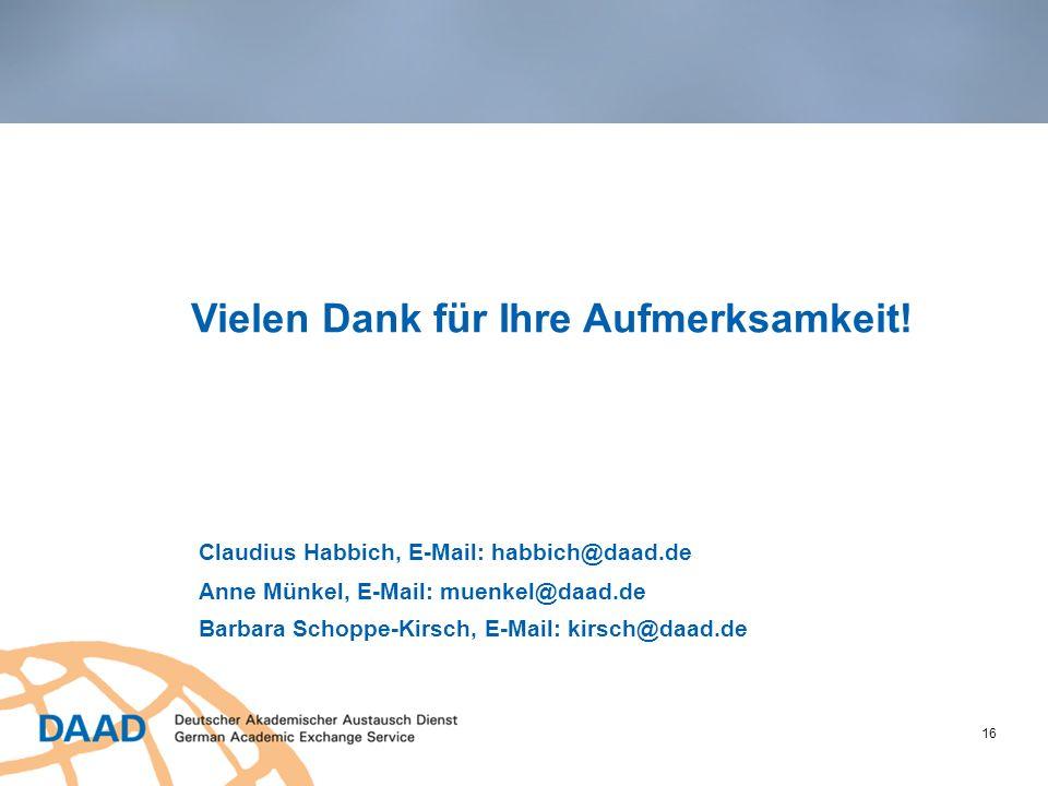 16 Vielen Dank für Ihre Aufmerksamkeit! Claudius Habbich, E-Mail: habbich@daad.de Anne Münkel, E-Mail: muenkel@daad.de Barbara Schoppe-Kirsch, E-Mail: