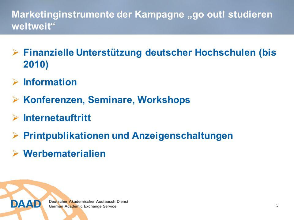Finanzielle Unterstützung deutscher Hochschulen im Rahmen der go out!-Kampagne 6 Von 2006 bis 2010 erhielten 147 deutsche Hochschulen mehr als 1,8 Million Euro zur Durchführung von - internationalen Tagen, Informationsseminaren und Workshops - Schreib-, Foto- und Posterwettbewerben - audiovisuellen Projekten: Theaterstücke, Filmprojekte (Spots, Kurzfilme, Dokumentarfilme), Podcasts, Radio- und Fernseh-Spots)