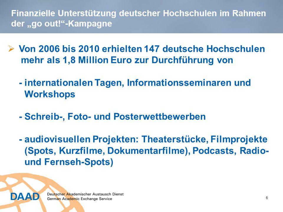 Informationsvermittlung im Rahmen der go out!- Kampagne 7 Bis 2010 Informationstouren/Roadshows mit Promotionsfahrzeug Von 2006 bis 2010: Teilnahme an Informations- veranstaltungen und -seminaren an 140 verschiedenen deutschen Hochschulen Teilnahme an Informations- und Bildungsmessen EXPOLINGUA, Studieren im Norden etc.)