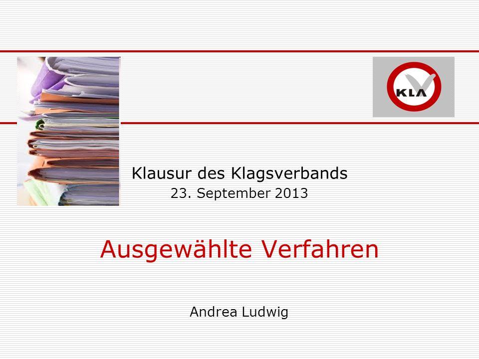Klausur des Klagsverbands 23. September 2013 Ausgewählte Verfahren Andrea Ludwig