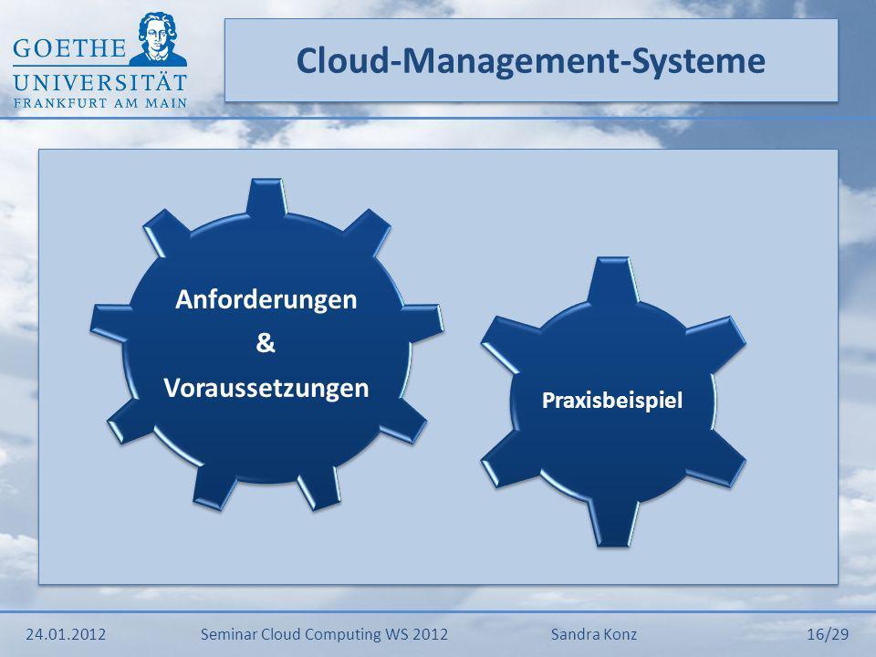 Anforderungen & Voraussetzungen 24.01.2012Seminar Cloud Computing WS 2012Sandra Konz 17/29 Service Level Agreements AutomatisierungLebenszyklus
