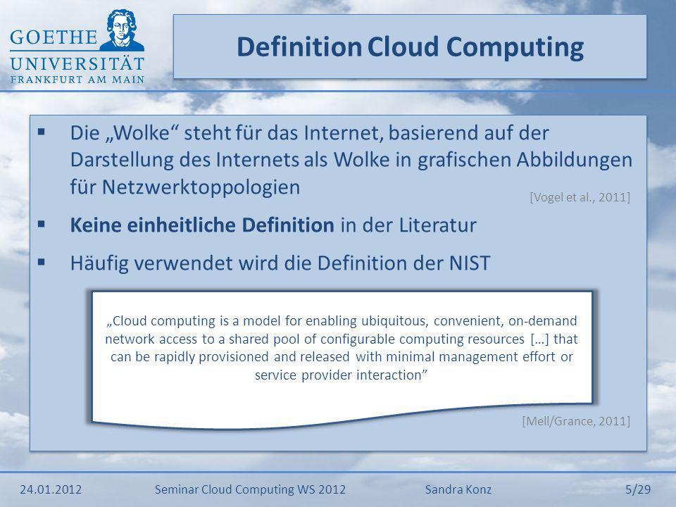 Systemtechnische Grundlagen 24.01.2012Seminar Cloud Computing WS 2012Sandra Konz 6/29 Cloud Computing Virtualisierung Grid Computing Utility Computing SOA & Webservices