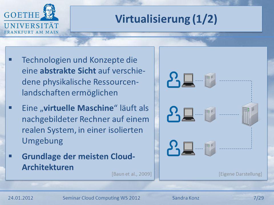 Virtualisierung (2/2) Beispiel: Softwarevirtualisierung Aufteilung eines physikalischen Servers in mehre virtuelle, dadurch Bereitstellung der Cloud Services für mehre Kunden Cloud Computing nutzt die Virtualisierung um Ressourcen bei Bedarf automatisiert und flexibel bereitstellen zu können Beispiel: Softwarevirtualisierung Aufteilung eines physikalischen Servers in mehre virtuelle, dadurch Bereitstellung der Cloud Services für mehre Kunden Cloud Computing nutzt die Virtualisierung um Ressourcen bei Bedarf automatisiert und flexibel bereitstellen zu können 24.01.2012Seminar Cloud Computing WS 2012Sandra Konz 8/29 [Eigene Darstellung] [Baun et al., 2009/Mather et al., 2009]