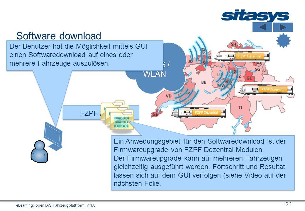 21 Software download eLearning: openTAS Fahrzeugplattform, V 1.0 FZPF Zentral GPRS / WLAN FZPF Dezentral Der Benutzer hat die Möglichkeit mittels GUI