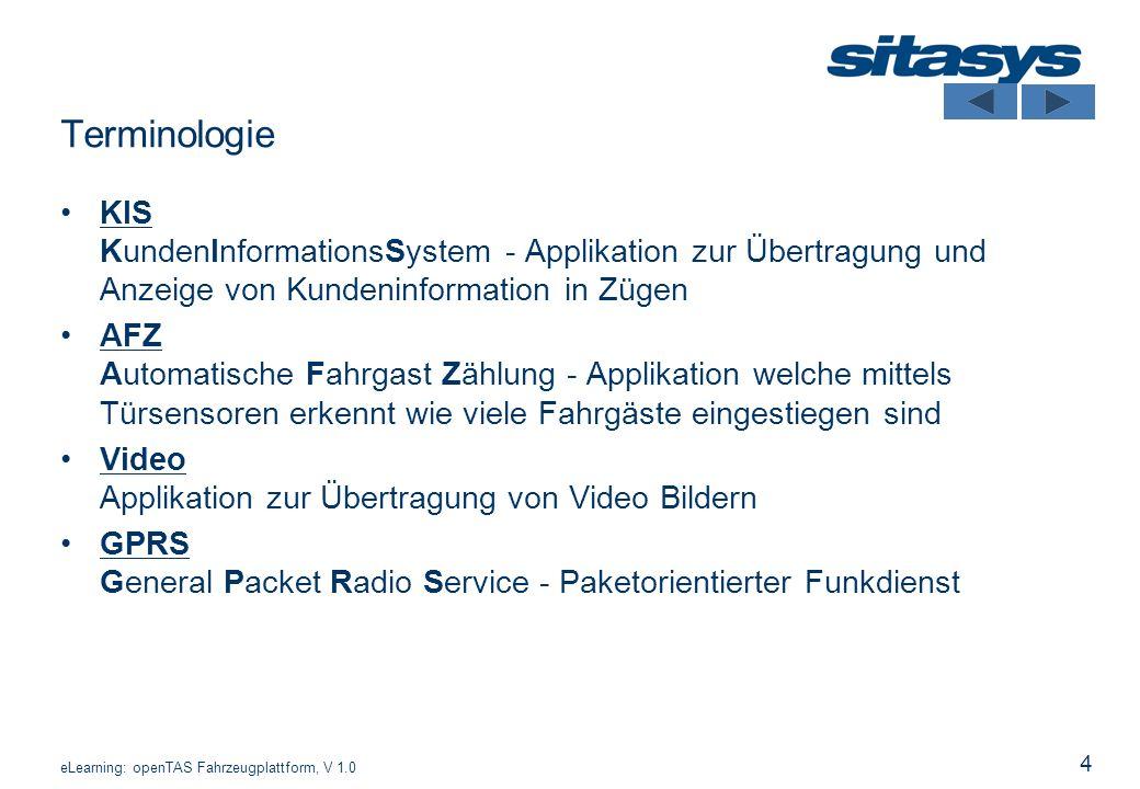 4 Terminologie KIS KundenInformationsSystem - Applikation zur Übertragung und Anzeige von Kundeninformation in Zügen AFZ Automatische Fahrgast Zählung
