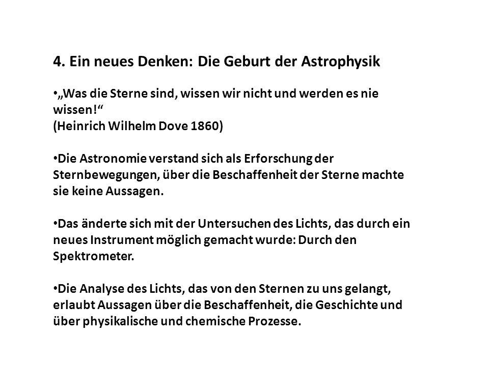 4. Ein neues Denken: Die Geburt der Astrophysik Was die Sterne sind, wissen wir nicht und werden es nie wissen! (Heinrich Wilhelm Dove 1860) Die Astro