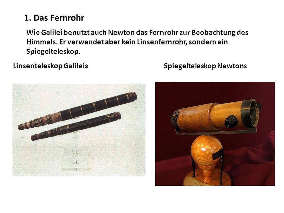 Wie Galilei benutzt auch Newton das Fernrohr zur Beobachtung des Himmels.