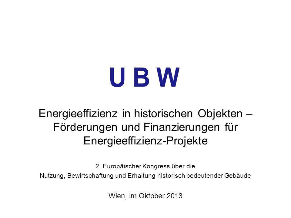 Energieeffizienz in historischen Objekten – Förderungen und Finanzierungen für Energieeffizienz-Projekte 2. Europäischer Kongress über die Nutzung, Be