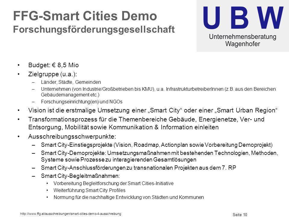 Seite 10 FFG-Smart Cities Demo Forschungsförderungsgesellschaft Budget: 8,5 Mio Zielgruppe (u.a.): –Länder, Städte, Gemeinden –Unternehmen (von Industrie/Großbetrieben bis KMU), u.a.