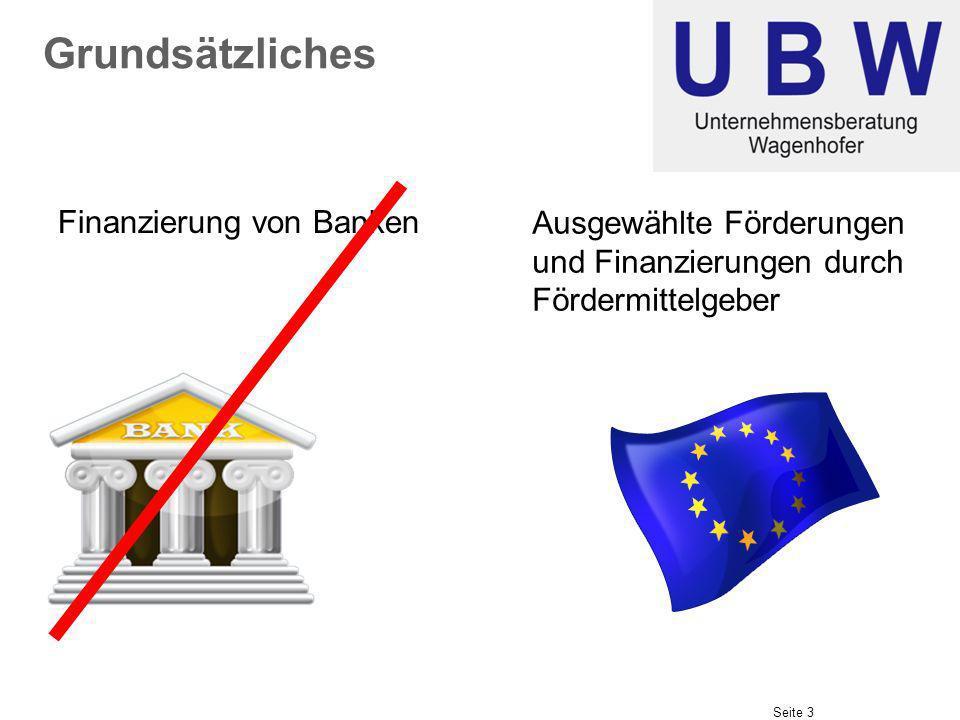 Seite 3 Grundsätzliches Ausgewählte Förderungen und Finanzierungen durch Fördermittelgeber Finanzierung von Banken
