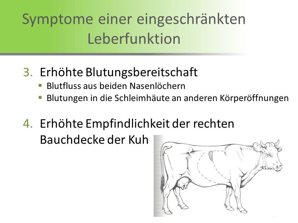 Symptome einer eingeschränkten Leberfunktion 3.Erhöhte Blutungsbereitschaft Blutfluss aus beiden Nasenlöchern Blutungen in die Schleimhäute an anderen