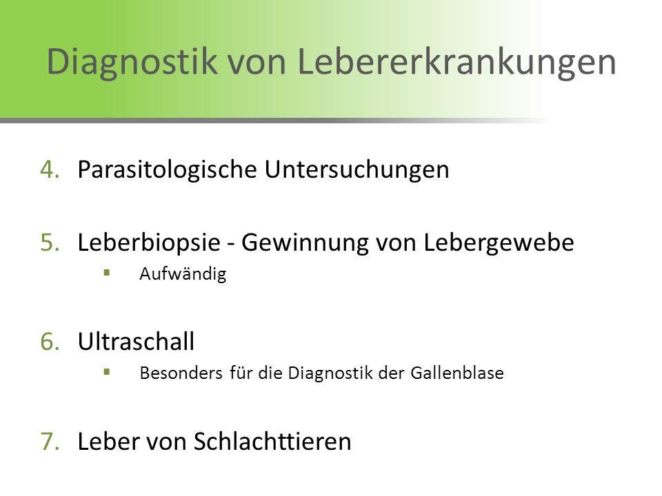 Diagnostik von Lebererkrankungen 4.Parasitologische Untersuchungen 5.Leberbiopsie - Gewinnung von Lebergewebe Aufwändig 6.Ultraschall Besonders für di