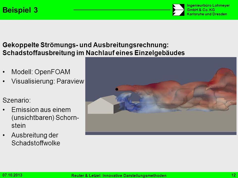 07.10.2013 Reuter & Letzel: Innovative Darstellungsmethoden 12 Ingenieurbüro Lohmeyer GmbH & Co. KG Karlsruhe und Dresden Beispiel 3 Gekoppelte Strömu