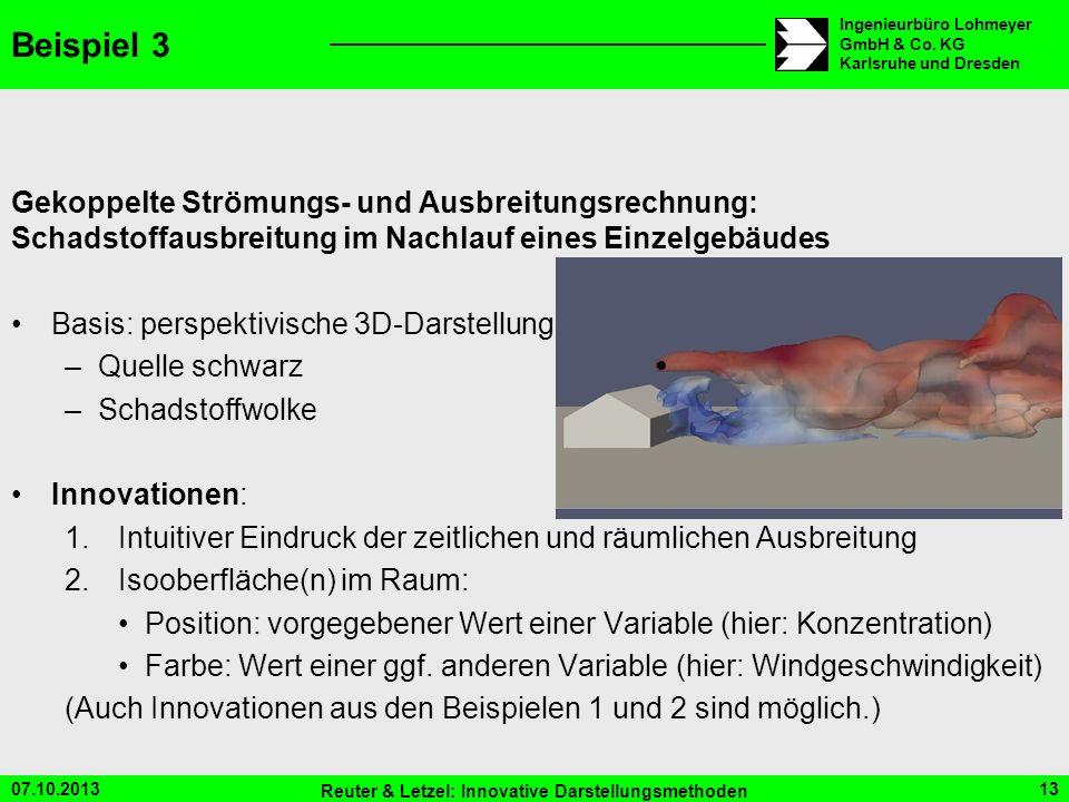 07.10.2013 Reuter & Letzel: Innovative Darstellungsmethoden 13 Ingenieurbüro Lohmeyer GmbH & Co. KG Karlsruhe und Dresden Beispiel 3 Gekoppelte Strömu