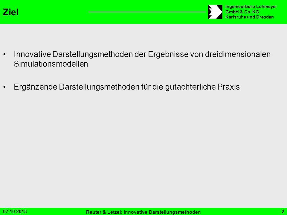 07.10.2013 Reuter & Letzel: Innovative Darstellungsmethoden 2 Ingenieurbüro Lohmeyer GmbH & Co. KG Karlsruhe und Dresden Ziel Innovative Darstellungsm